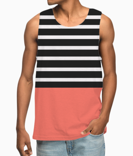 Black   white stripes with living coral patch vest front