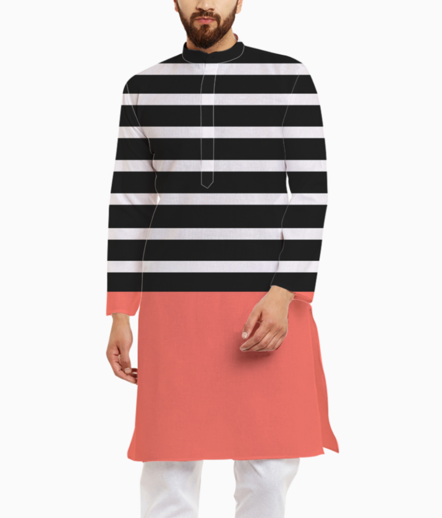 Black   white stripes with living coral patch kurta front