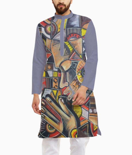 Abstract blocks kurta front