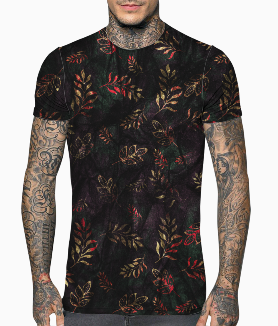 Glittery leaves t shirt front