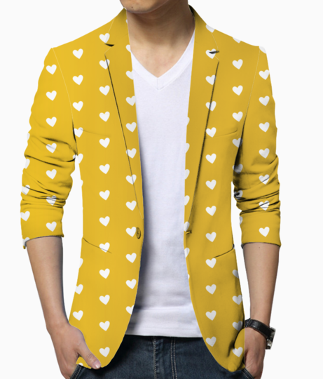 Autumn yellow heart shape pattern blazer front