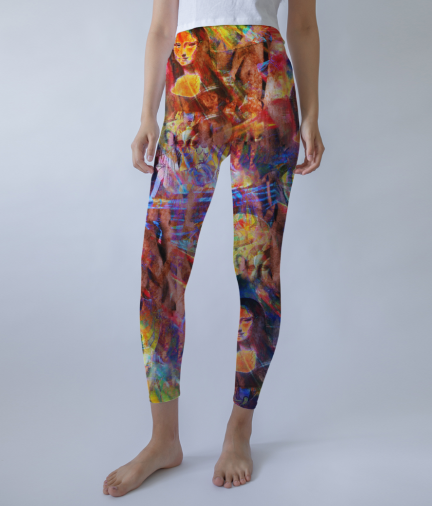 Red art spicy leggings front