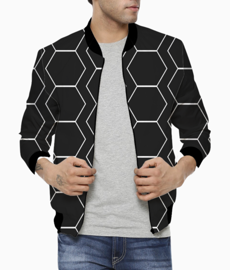 Black   white hexagon pattern bomber front