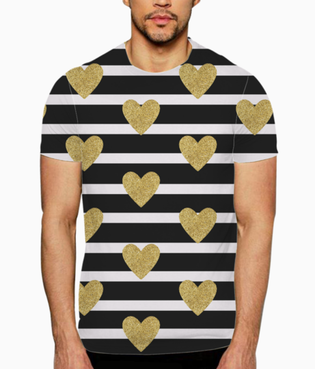 Black stripes with golden hearts t shirt front