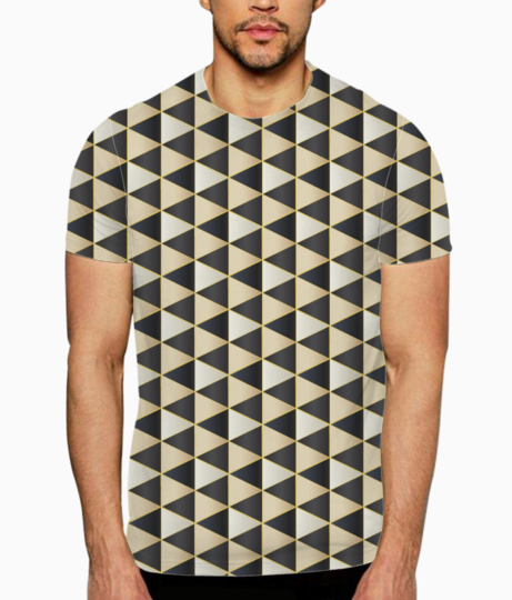 Golden ethnic hexagon art t shirt front