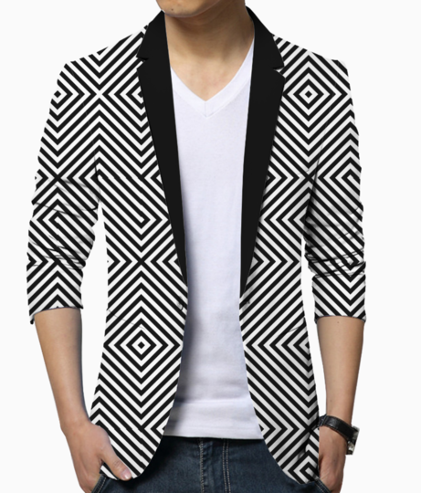 Abstract geo diagonal lines blazer front