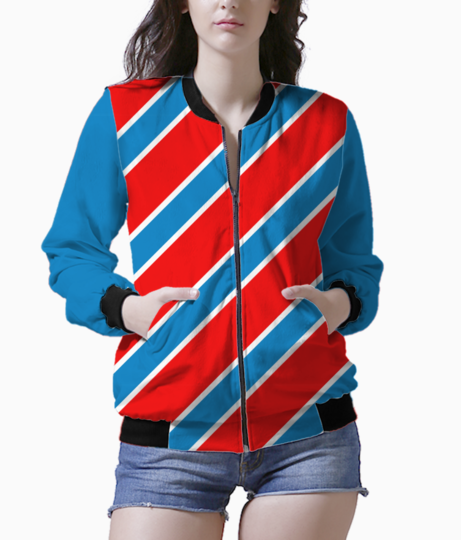 Red and blue stripes bomber front
