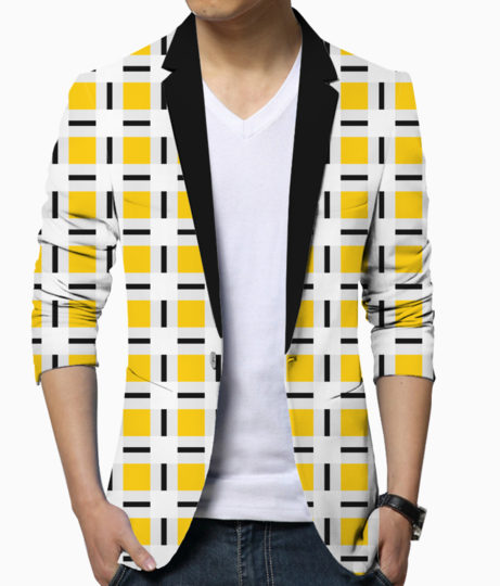 Yellow checkered blazer front