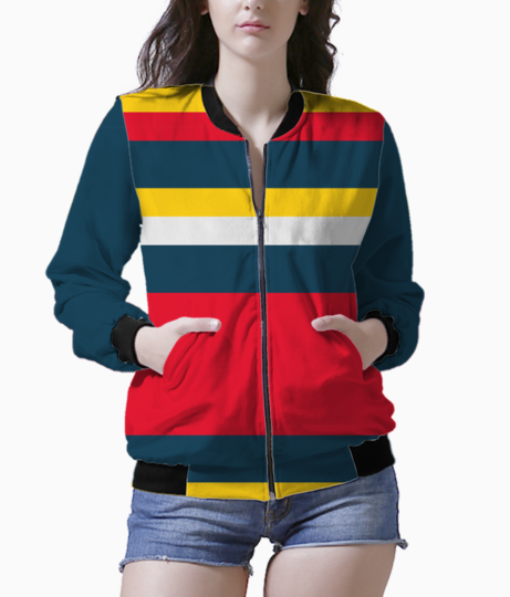 Blue red yellow stripes bomber front