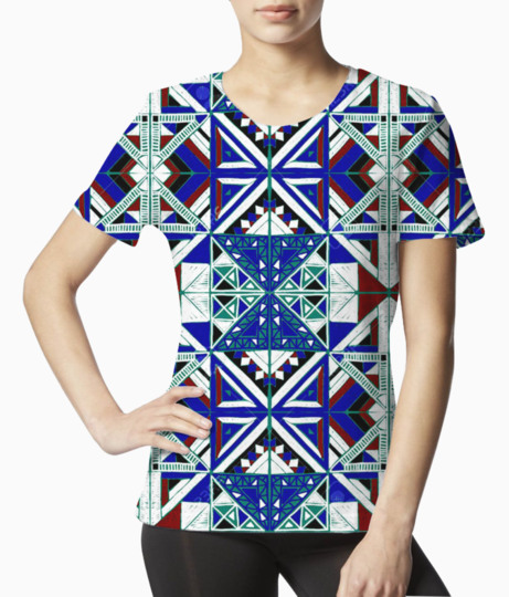 92678897 tribal vector ornament seamless african pattern ethnic carpet with chevrons aztec style geometric mo tee front