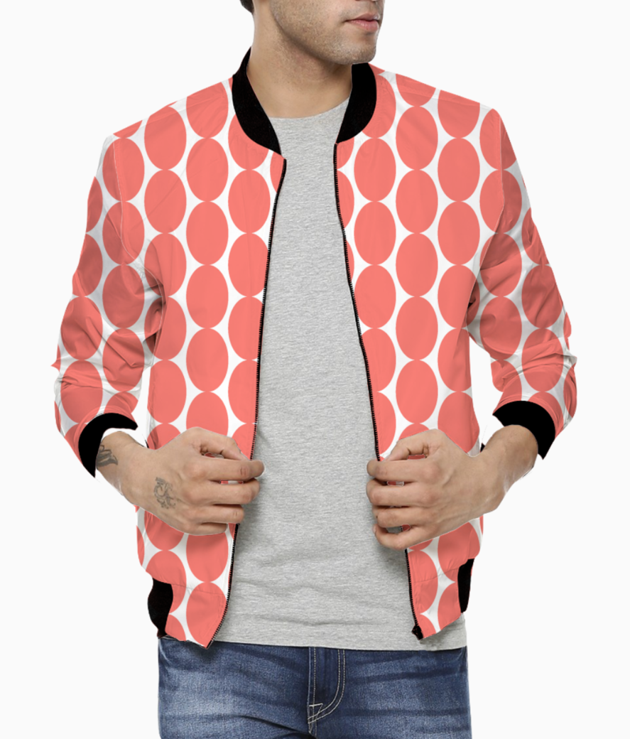 Egg shape living coral pattern bomber front