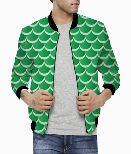 Green mermaid pattern bomber front