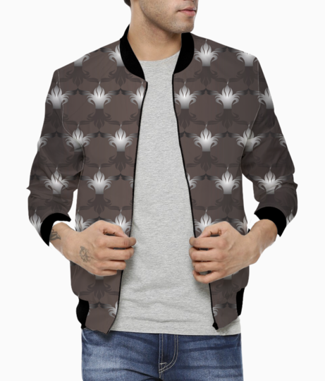 Islamic art black brown pretty pattern bomber front
