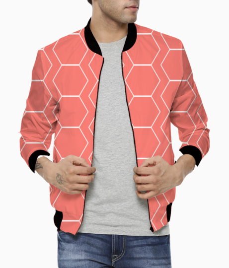 White hexagon living coral pattern bomber front