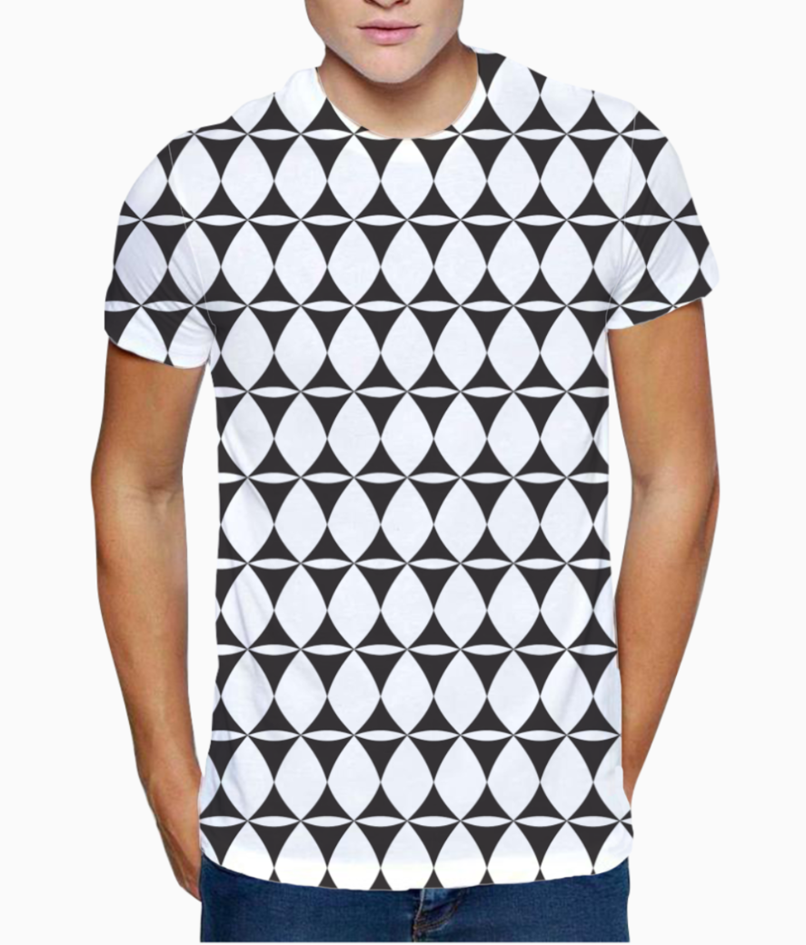 Tribal curved diamond seamless pattern t shirt front
