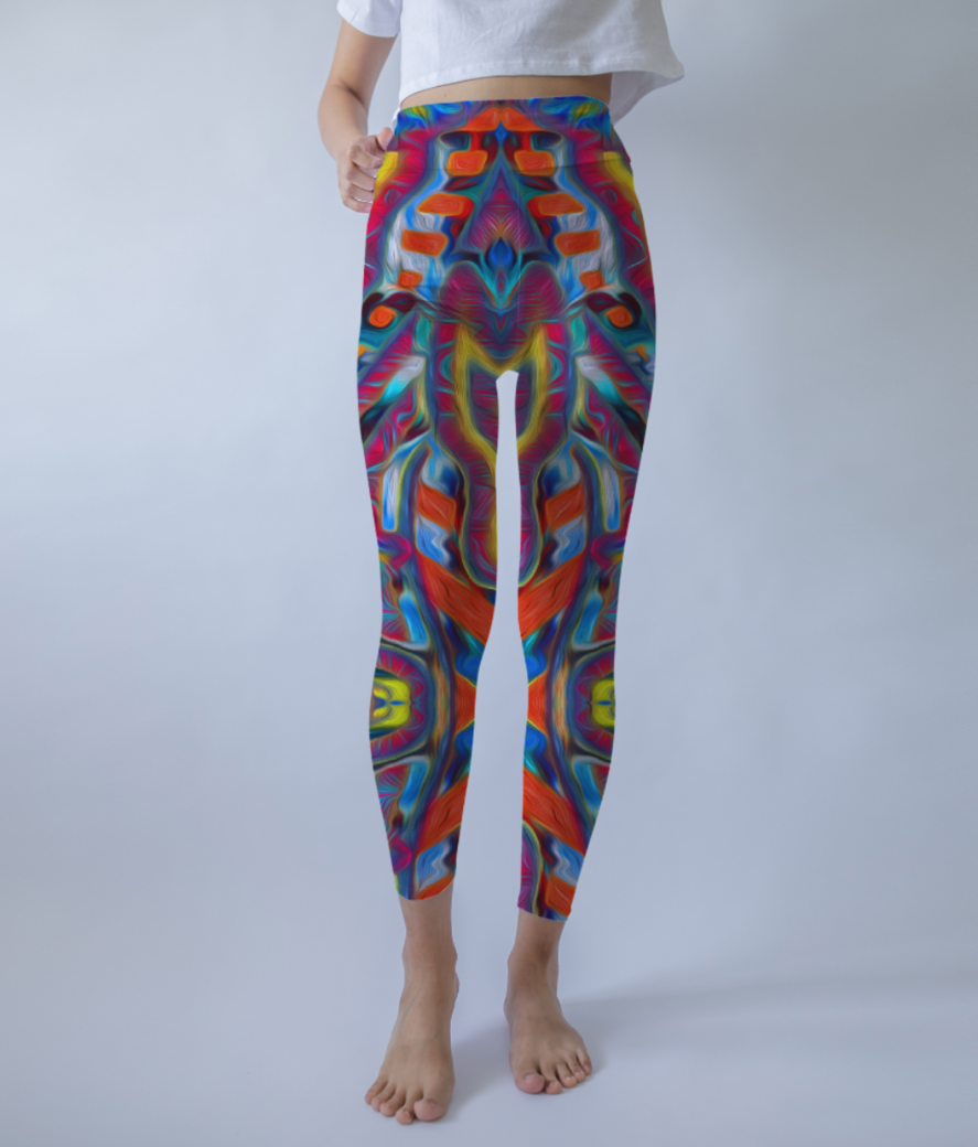 Abstract atribal leggings front