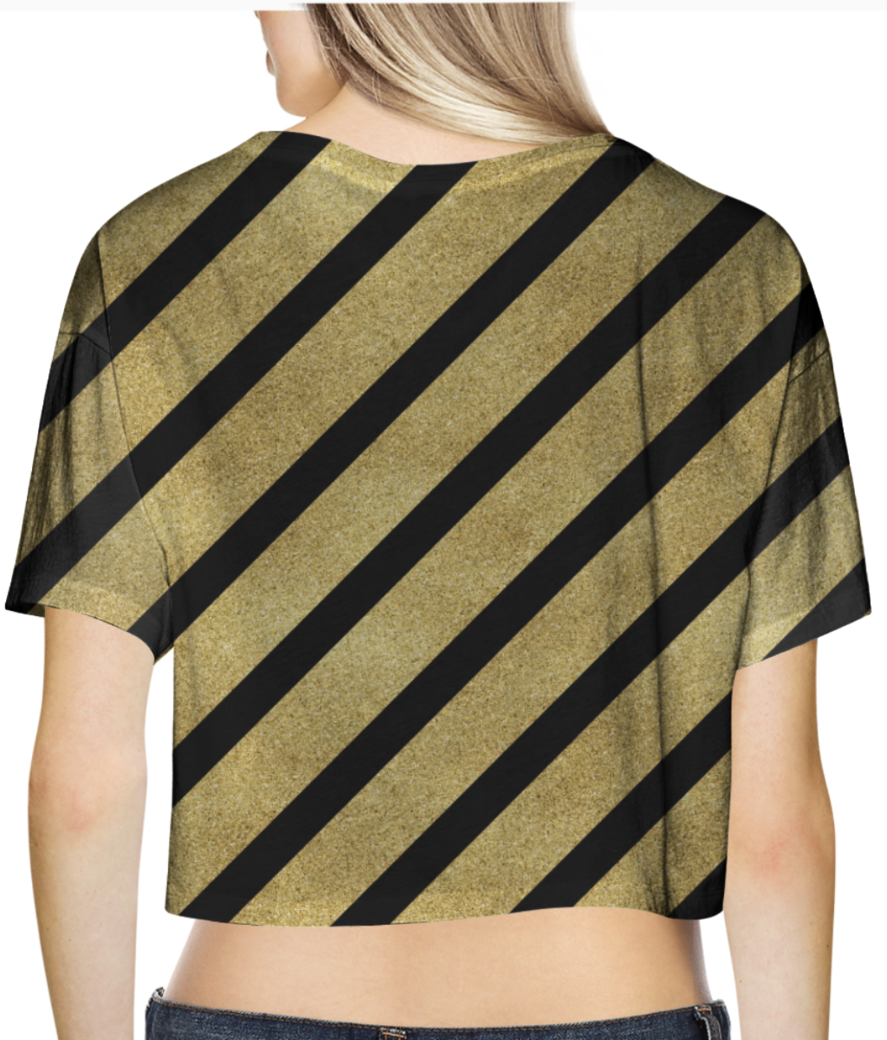 Classic cross gold glitter stripes crop top back