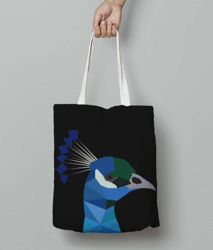 Peacock origami art tote bag front