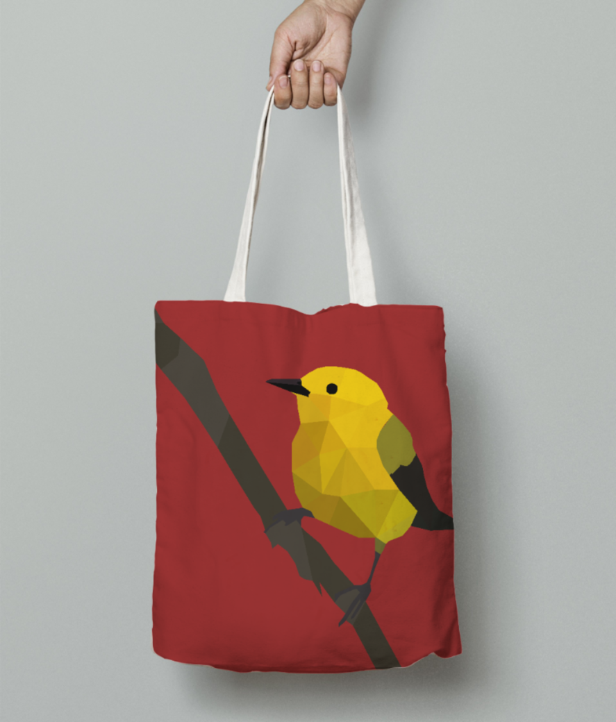 Prothonotary warbler origami art tote bag front