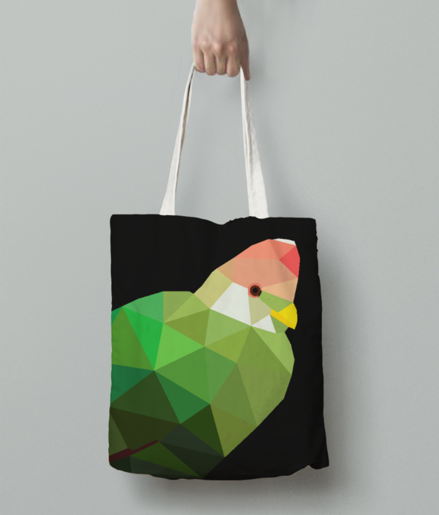 Red crested turaco origami art tote bag back