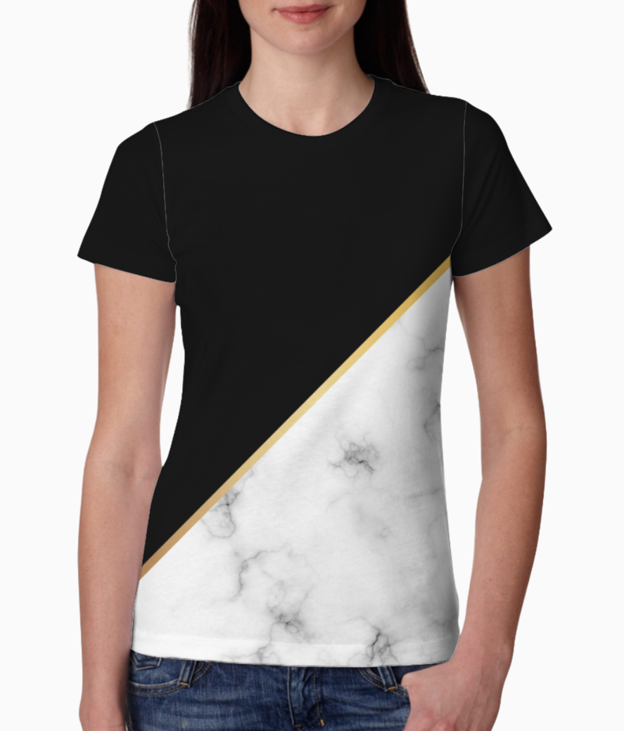 Abstract modern marble tee front