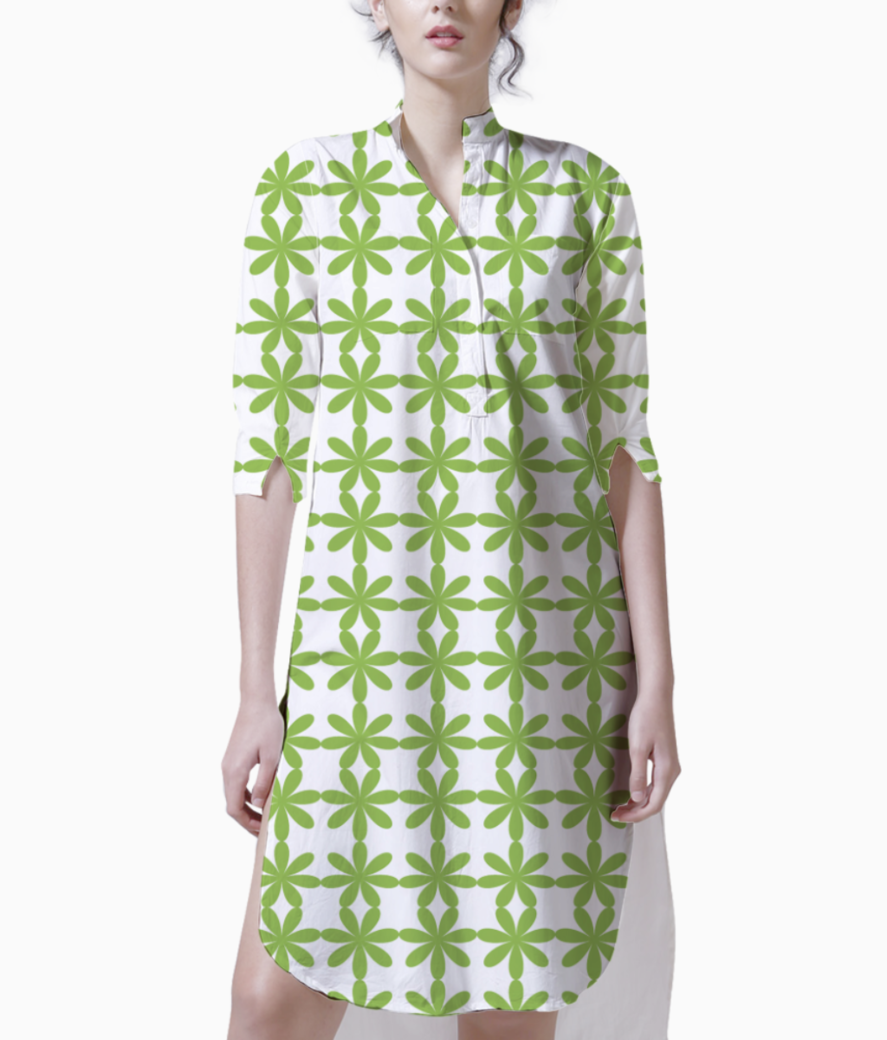 Abstract green flower seamless pattern kurti front