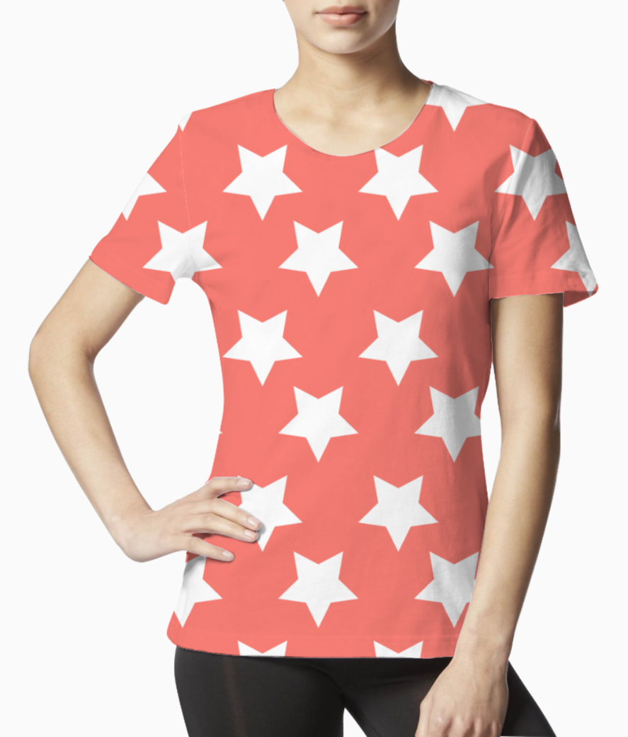 White stars living coral pattern tee front
