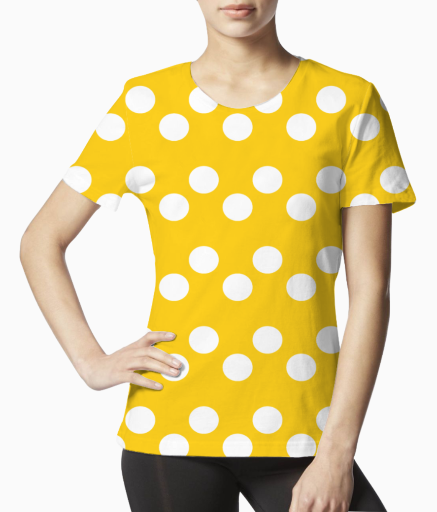 Yellow white dots pattern tee front