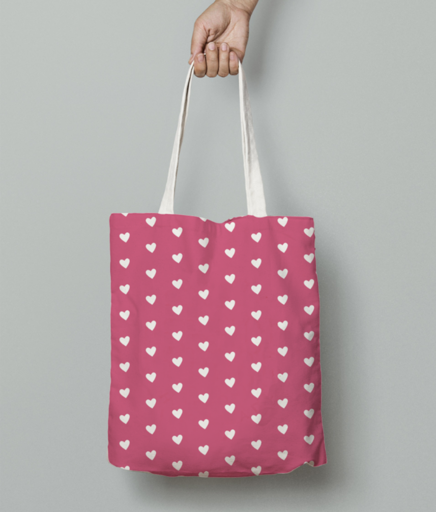 Cranberry heart shape pattern tote bag front