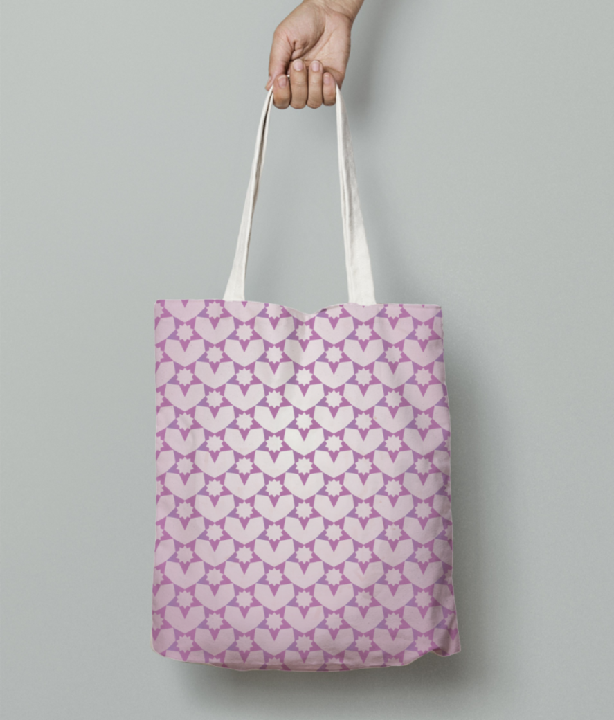 Decorative pink color pattern tote bag front