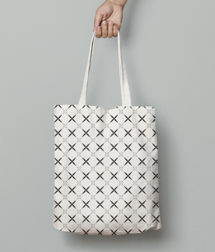Monochrome pretty pattern tote bag front