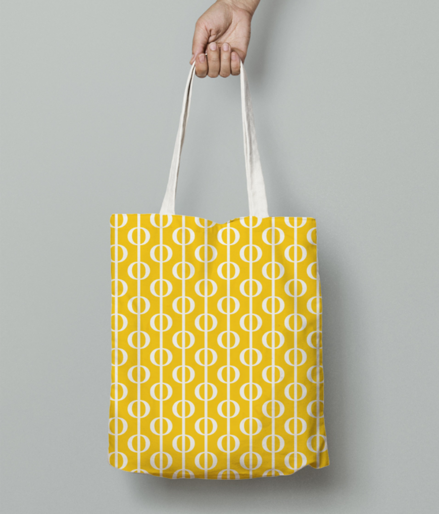 Yellow bubbles pattern tote bag front
