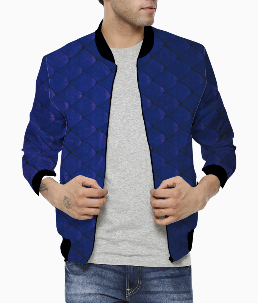 Blue hello bomber front