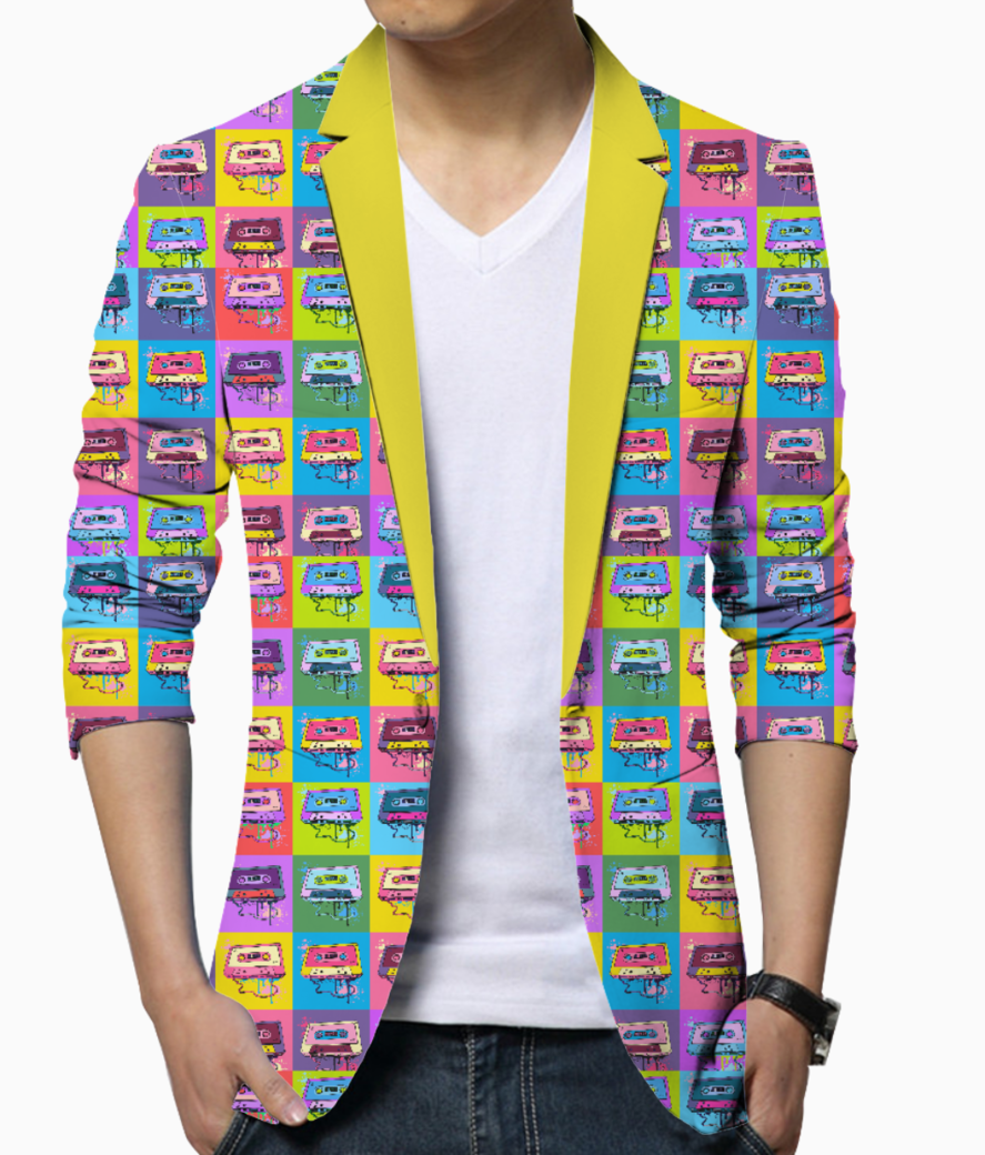 Psychedelic party small print blazer front