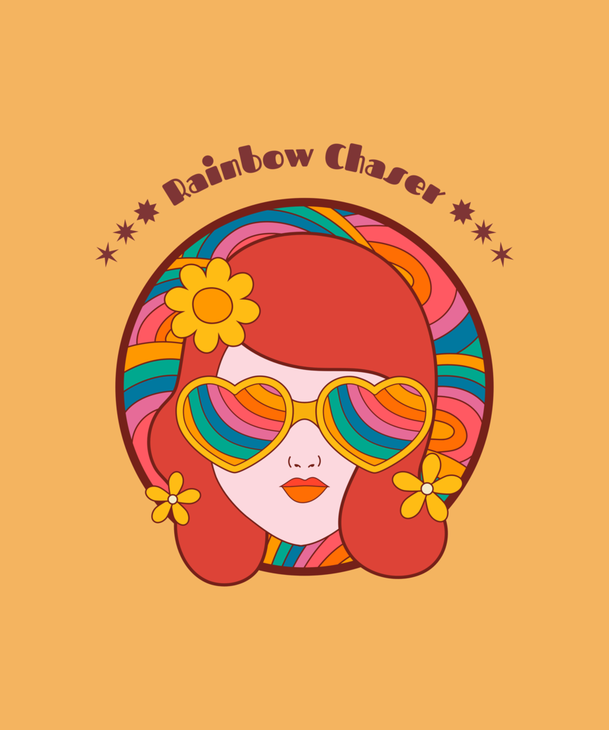 Retro t shirt design maker featuring a woman s face with rainbow glasses 1954i