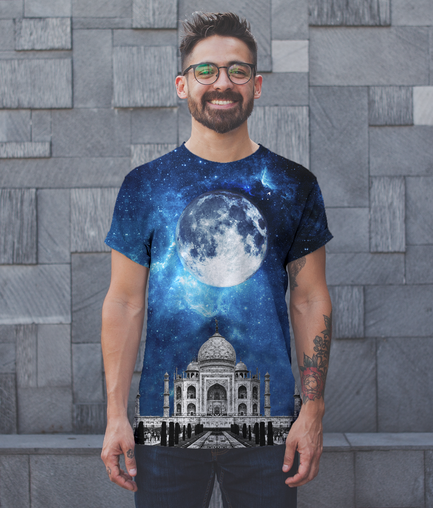 Front shot t shirt mockup featuring a happy man with glasses 20745