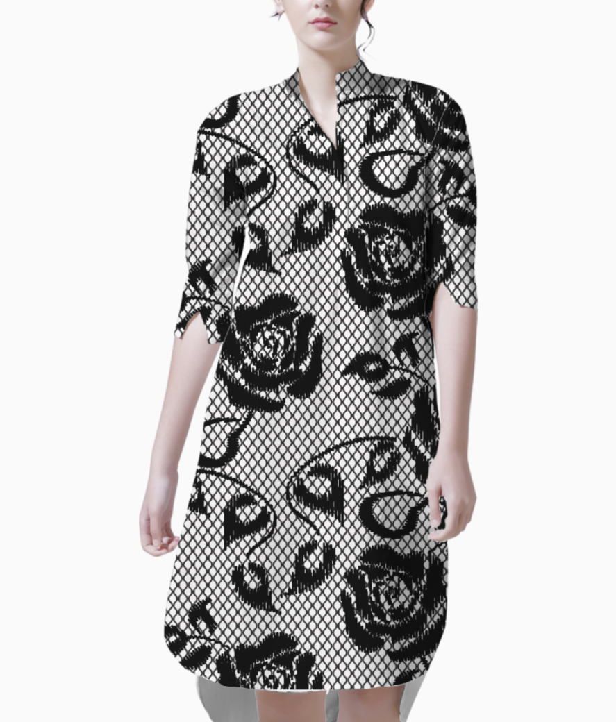 Black netted pattern kurti front