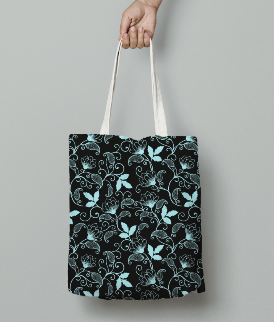 Blue floral tote bag front