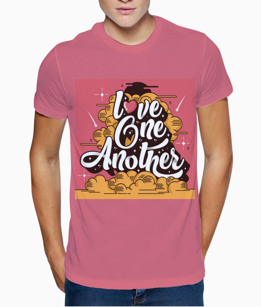 Love one another typography t shirt front