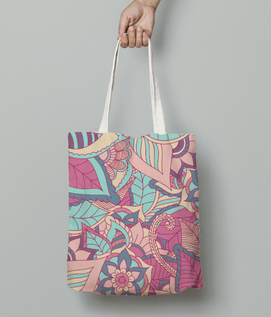 Colourful natural print tote bag front