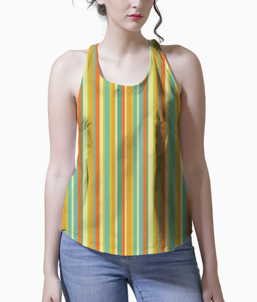 Colourful stripes yellow tank front