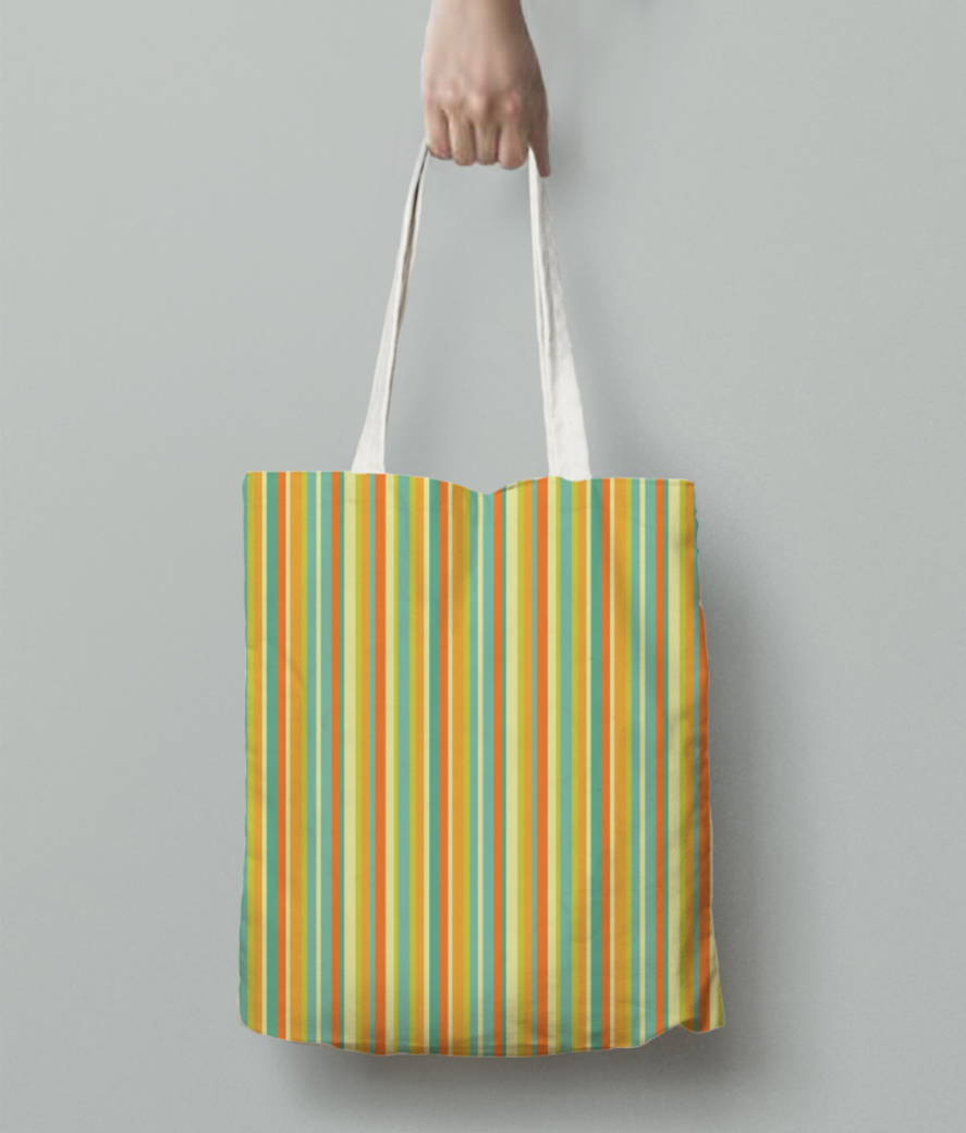Colourful stripes yellow tote bag back