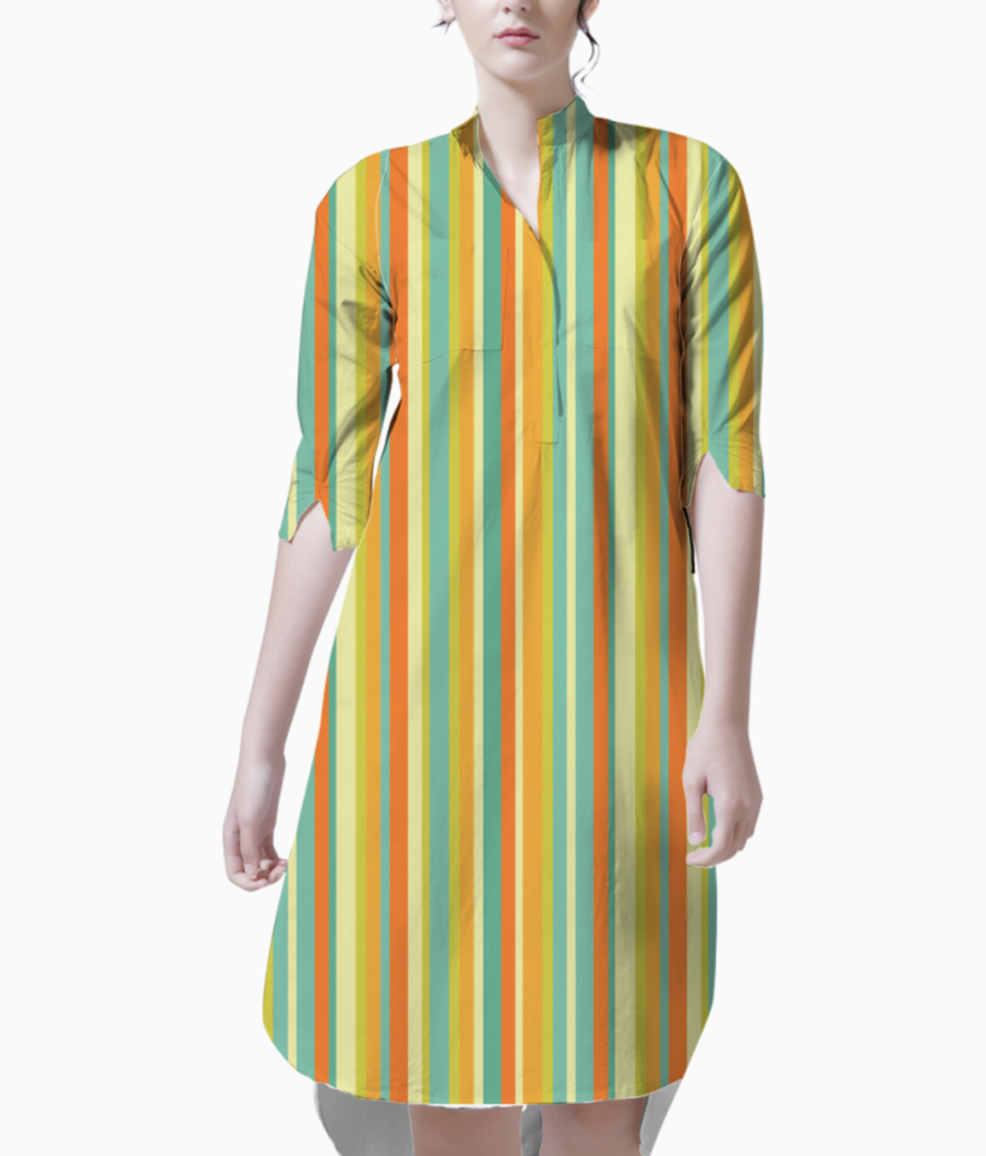 Colourful stripes yellow kurti front
