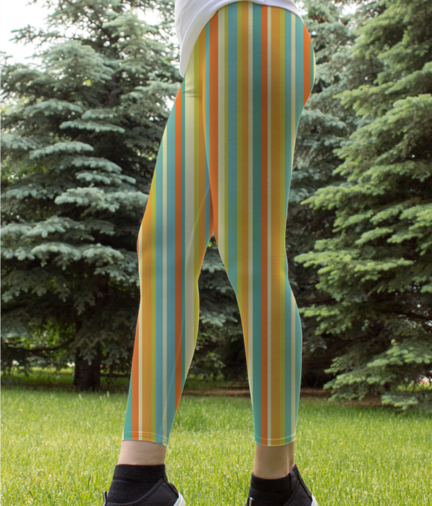 Colourful stripes yellow leggings front