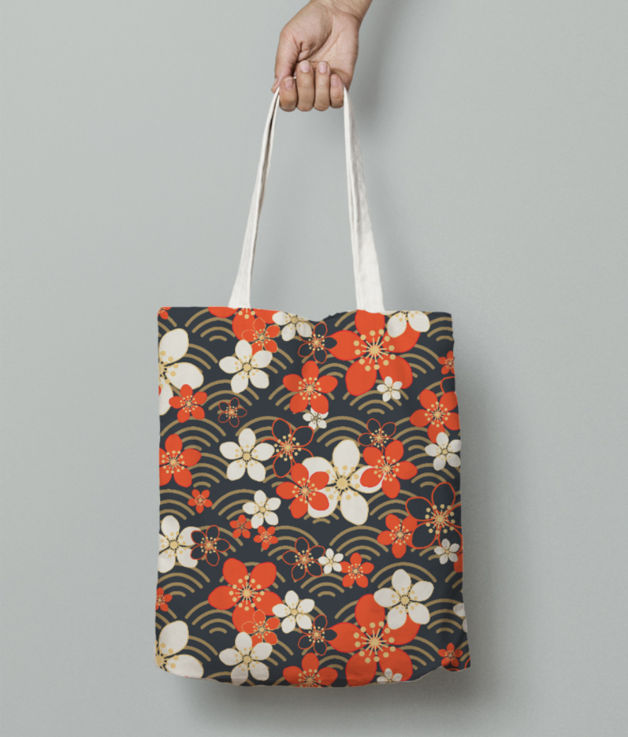 Cool floral print tote bag front