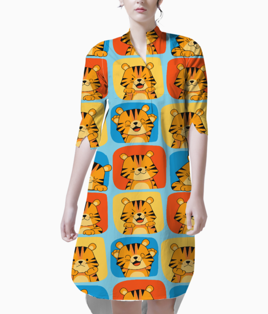 Cute tiger pattern 2 kurti front