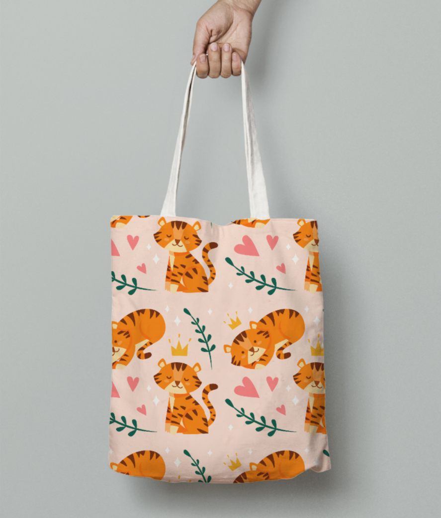 Cute tiger pattern tote bag front