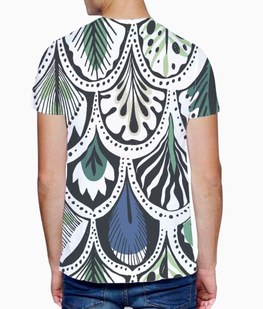 Feather pattern t shirt back