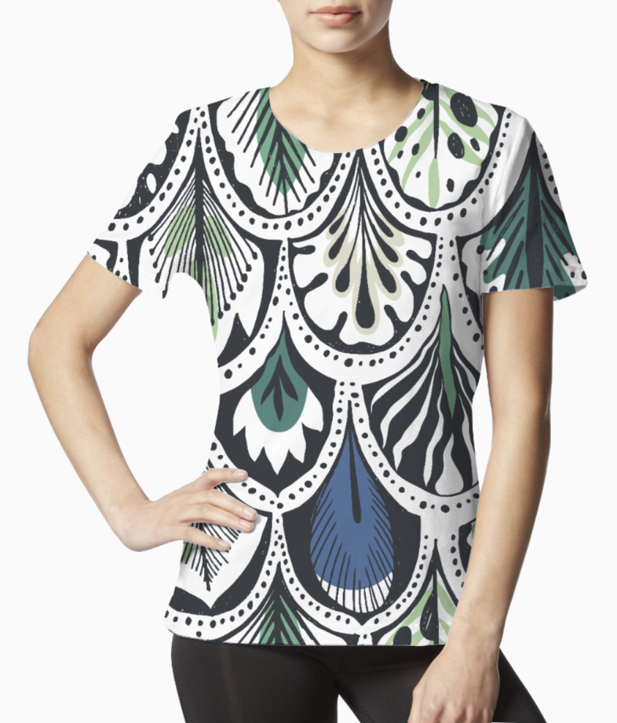 Feather pattern tee front