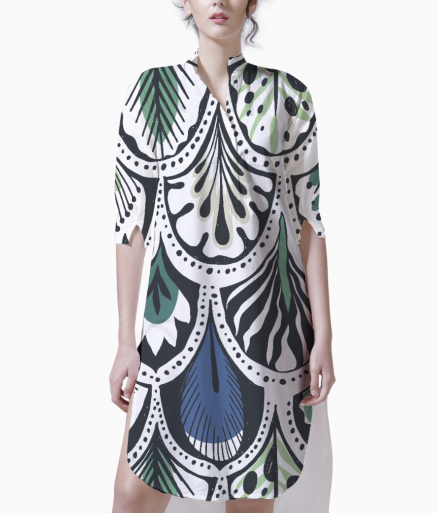 Feather pattern kurti front